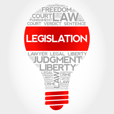 arbitration: Legislation bulb word cloud concept Illustration