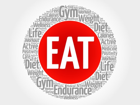 increase fruit: EAT circle stamp word cloud, fitness, sport, health concept