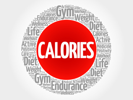 calories: CALORIES circle stamp word cloud, fitness, sport, health concept