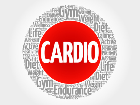 physique: CARDIO circle stamp word cloud, fitness, sport, health concept