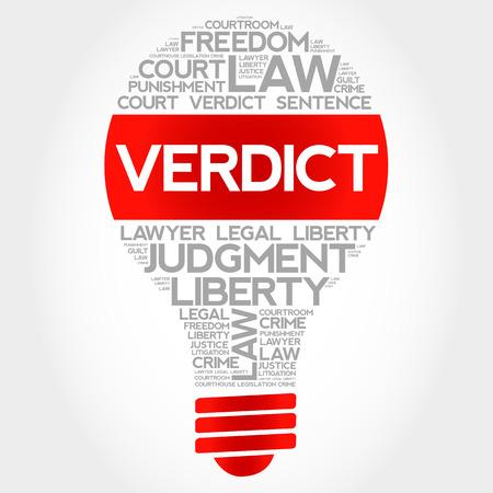 verdict: Verdict bulb word cloud concept