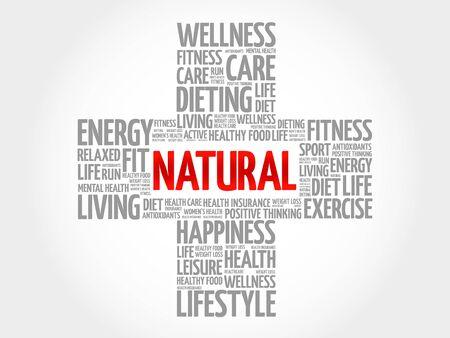 increase fruit: NATURAL word cloud, health cross concept