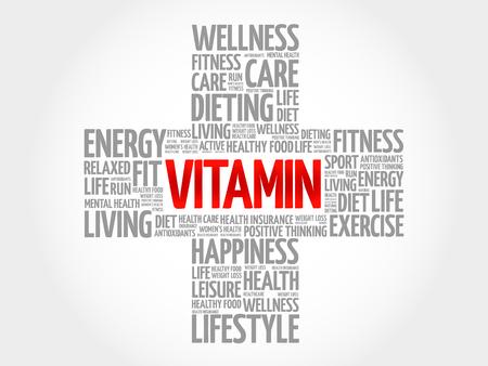 chain reaction: VITAMIN word cloud, health cross concept