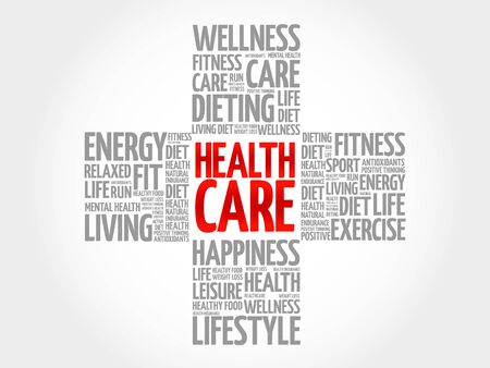 nursing department: Health care word cloud, health cross concept