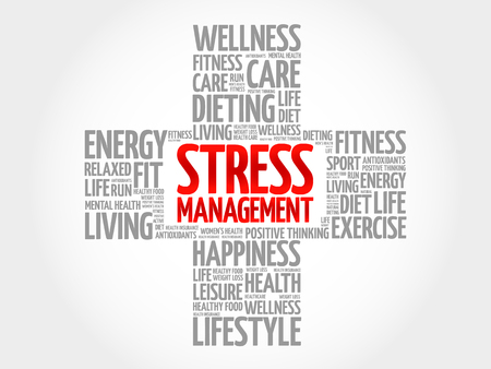 involves: Stress Management word cloud, health cross concept