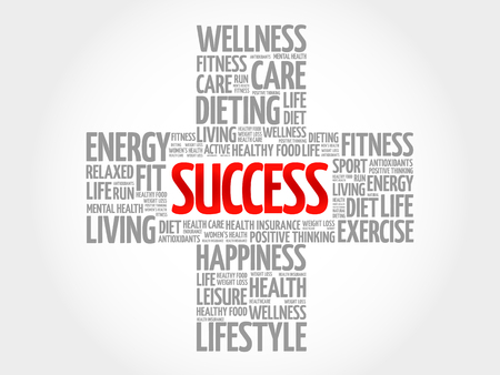 success concept: SUCCESS word cloud, health cross concept