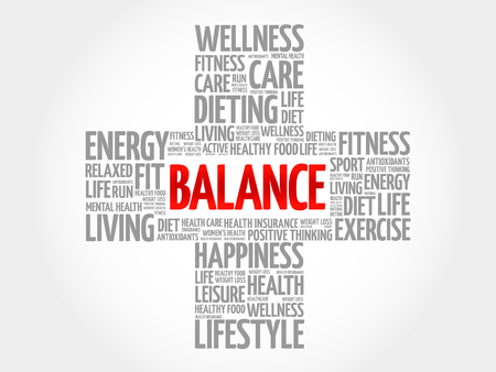 BALANCE word cloud, health cross concept