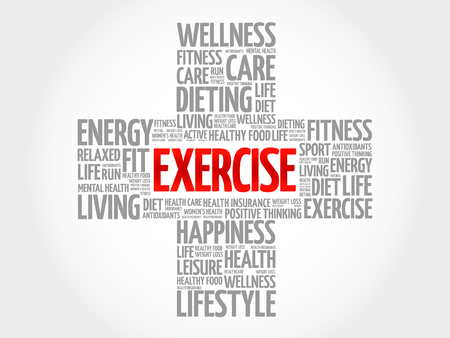 physique: EXERCISE word cloud, health cross concept