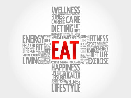 vitamine: EAT word cloud, health cross concept