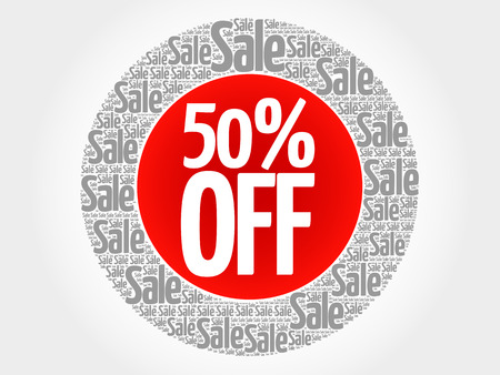 50 off: 50% OFF stamp words cloud, business concept background