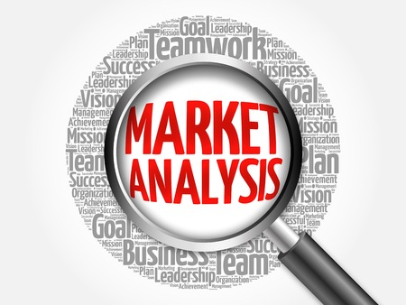 optimal: Market Analysis word cloud with magnifying glass, business concept