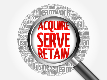 retain: Acquire, Serve and Retain word cloud with magnifying glass, business concept Stock Photo