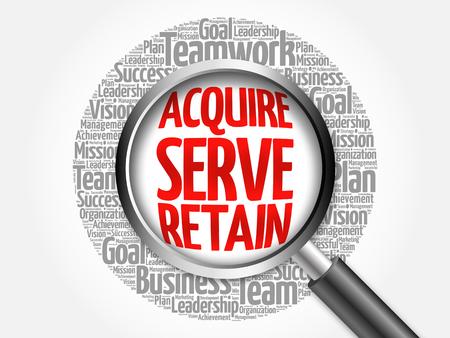 retained: Adquirir, servir y retener la nube de palabra con la lupa, concepto de negocio Foto de archivo