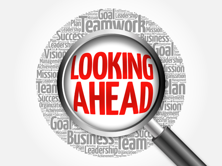 looking ahead: Looking Ahead word cloud with magnifying glass, business concept Stock Photo