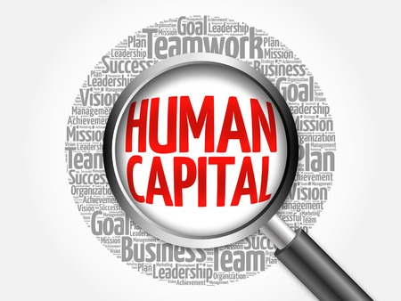 human capital: Human capital word cloud with magnifying glass, business concept Stock Photo