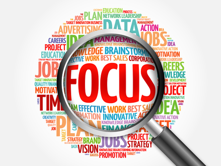 powerful creativity: FOCUS word cloud with magnifying glass, business concept Stock Photo