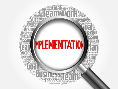 implementation: Implementation word cloud with magnifying glass, business concept