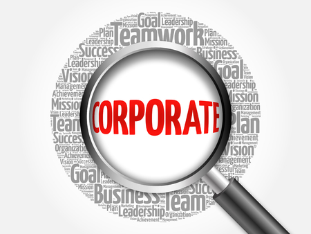lens unit: Corporate word cloud with magnifying glass, business concept Stock Photo
