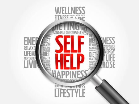 self help: Self Help word cloud with magnifying glass, health concept