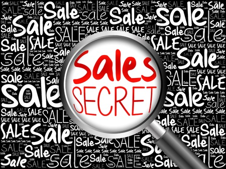 reach customers: Sales Secret sale word cloud with magnifying glass, business concept