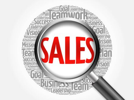 relationsip: SALES word cloud with magnifying glass, business concept Stock Photo
