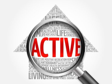 active arrow: ACTIVE arrow word cloud with magnifying glass, health concept Stock Photo