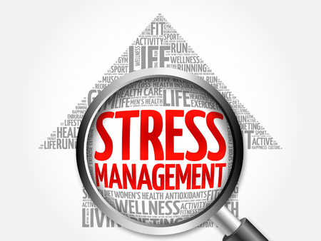 transactional: Stress Management arrow word cloud with magnifying glass, health concept