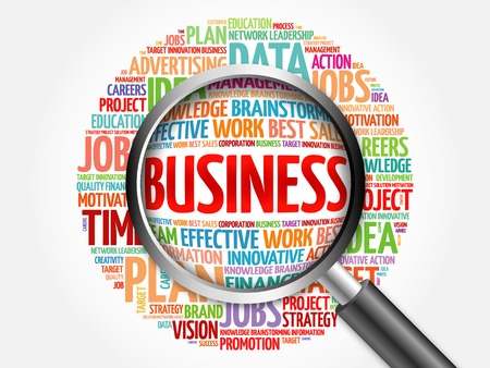 estimating: BUSINESS word cloud with magnifying glass, business concept