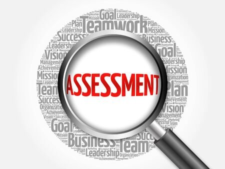 assessment system: ASSESSMENT word cloud with magnifying glass, business concept