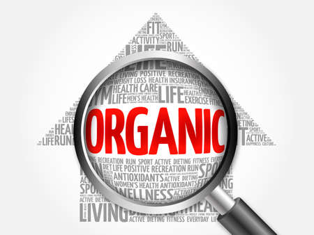 increase fruit: ORGANIC arrow word cloud with magnifying glass, health concept