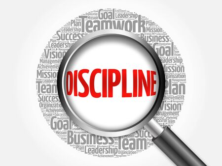 interdependent: DISCIPLINE word cloud with magnifying glass, business concept