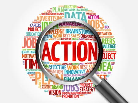 estimating: ACTION word cloud with magnifying glass, business concept