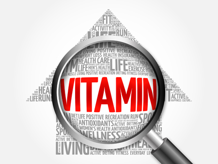 oxidative: VITAMIN arrow word cloud with magnifying glass, health concept