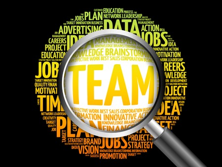 lens unit: TEAM word cloud with magnifying glass, business concept
