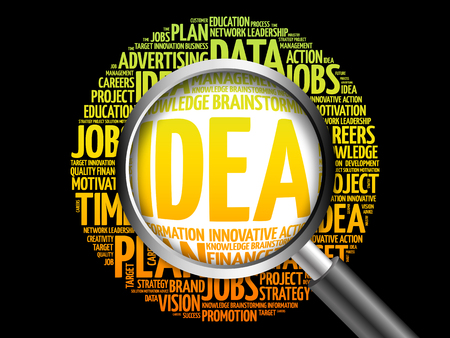 axiom: IDEA word cloud with magnifying glass, business concept