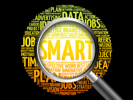textcloud: SMART word cloud with magnifying glass, business concept