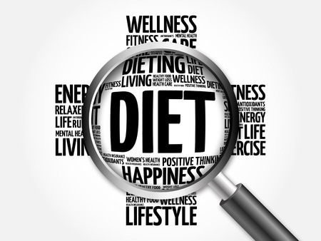 start to cross: Diet word cloud with magnifying glass, health concept Stock Photo