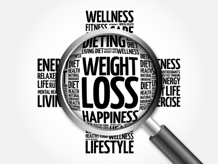 losing control: Weight Loss word cloud with magnifying glass, health concept