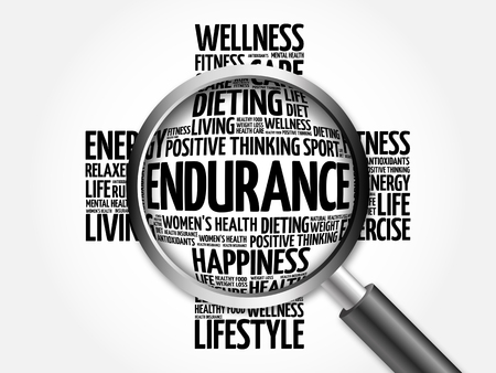 endurance: ENDURANCE word cloud with magnifying glass, health concept