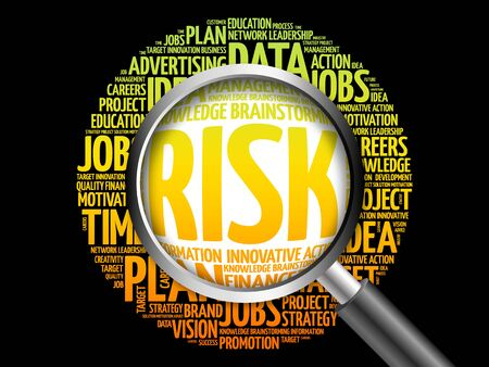 negative returns: RISK word cloud with magnifying glass, business concept