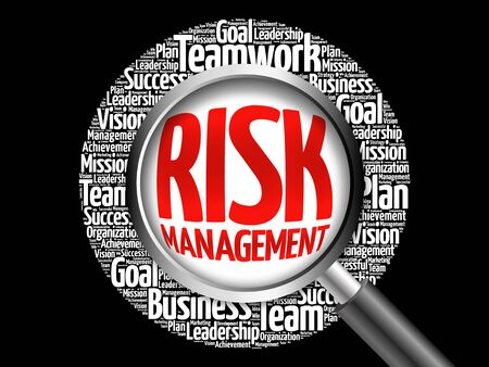 investing risk: Risk Management word cloud with magnifying glass, business concept