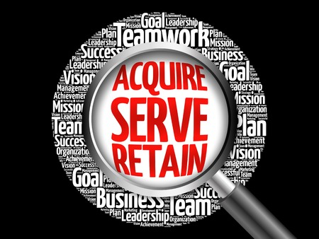 retained: Acquire, Serve and Retain word cloud with magnifying glass, business concept Foto de archivo