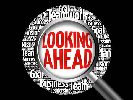 estimating: Looking Ahead word cloud with magnifying glass, business concept Stock Photo