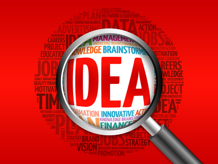 teorema: IDEA word cloud with magnifying glass, business concept