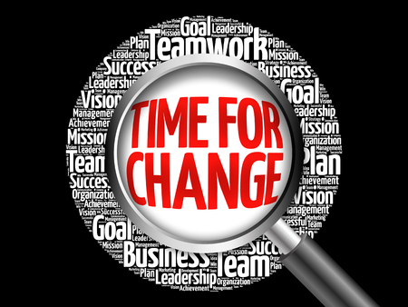 newer: Time for Change word cloud with magnifying glass, business concept Stock Photo