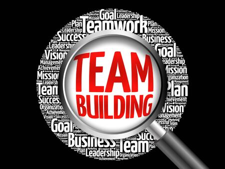 interdependent: Team Building word cloud with magnifying glass, business concept Stock Photo