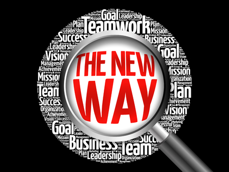 new way: The New Way word cloud with magnifying glass, business concept Stock Photo