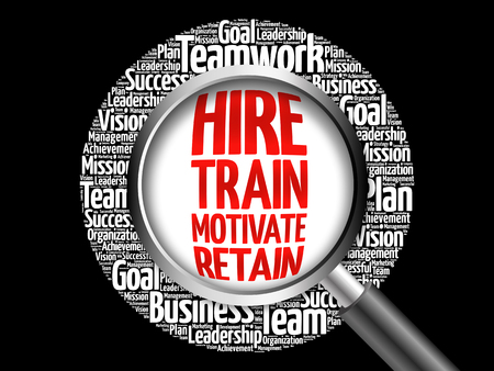 Hire, Train, Motivate and Retain word cloud with magnifying glass, business concept