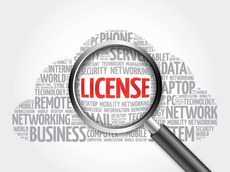 shareware: LICENSE word cloud with magnifying glass, business concept