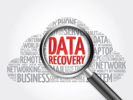 data recovery: Data Recovery word cloud with magnifying glass, business concept
